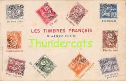 CPA LANGAGE LES TIMBRES FRANCAIS VANDERAUWERA BRUXELLES - Timbres (représentations)