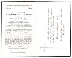 Devotie - Devotion - Jozef Van Den Broeck-Pijpelheide 1894-1956-Van Dessel-Opgeëist Oorlog Gepensioneerd Gem Anderlecht - Décès
