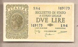 """Italia - Banconota Non Circolata FdS Da 2 Lire """"Italia Laureata"""" P-30b - 1944 - [ 1] …-1946 : Royaume"""