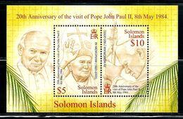 """Solomon Islands     """"Pope John Paul II""""     Sheet Of 2    SC# 1025      MNH - Solomon Islands (1978-...)"""