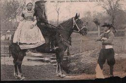Cpa Départ Des Mariés Bretons - Après La Fête (animée, Gros Plan, Couple Sur Cheval) N° 1069 - Noces