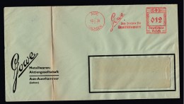 DR Brief Absenderfreistempel AFS  Metallwaren 1938 Aue K1201 - Deutschland