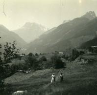 Suisse Finhaut Aiguilles Rouges Loriaz Perron Ancienne Photo Stereo Amateur Possemiers 1910 - Stereoscopic