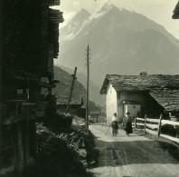 Suisse Val D'Hérens Dents De Veisivi Ancienne Photo Stereo Amateur Possemiers 1910 - Stereoscopic