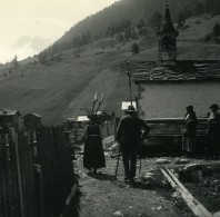 Suisse Val D'Hérens Lanna Eglise Ancienne Photo Stereo Amateur Possemiers 1910 - Stereoscopic
