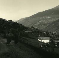 Suisse Val D'Anniviers Route De Grimentz Saint-Jean Ancienne Photo Stereo Amateur Possemiers 1910 - Stereoscopic