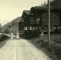 Suisse Val D'Anniviers Mazets Vissoie Ancienne Photo Stereo Amateur Possemiers 1910 - Stereoscopic