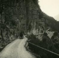 Suisse Val D'Anniviers Route De Vissoie Ancienne Photo Stereo Amateur Possemiers 1910 - Stereoscopic