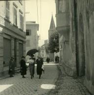 Suisse Rue De Sierre Vers L'eglise Ancienne Photo Stereo Amateur Possemiers 1910 - Stereoscopic