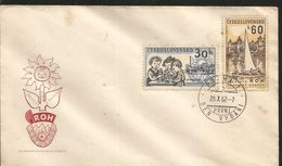 J) 1962 CZECHOSLOVAKIA, SAILBOAT AND TRADE UNION REST HOME, ZINKOVY, CHILDREN IN DAY NURSERY AND FACTORY, FLOWER, FDC - Czechoslovakia