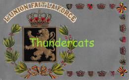 CPA CARTE HERALDIQUE HERALDIC  EN RELIEF GAUFREE BELGIQUE BELGIE L'UNION FAIT LA FORCE GUGGENHEIM - Autres