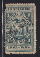 Ecuador Used Revenue 1889-1890 Overprint On 1887-1888  1c 1a Clase, Green - Equateur