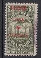 Ecuador Used Revenue Scott #RA6 Red Overprint On 1917-1918 20c Revenue - Equateur