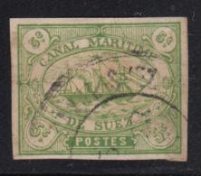 Egypt Suez Canal Company 1868 Used SG #2 5c Sailing Ship Forgery - Égypte