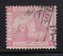 Egypt 1879-1902 Used Scott #36 SG #47w 1pi Sphinx, Pyramid Wmk Inverted - Égypte