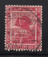 Egypt 1914 Used Scott #54 SG #77aw 5m Sphinx, Pyramid Wmk Sideways, Star To Left - Égypte