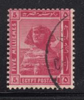 Egypt 1914 Used Scott #54 SG #77aw 5m Sphinx, Pyramid Wmk Sideways, Star To Left - 1866-1914 Khédivat D'Égypte