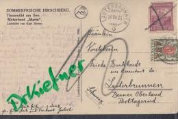 """SCHWEIZ Porto 43 X Auf AK: Thammühl Am See Mit Motorboot """"MARIE"""", St: Lauterbrunnen 26.VII.1926 - Impuesto"""