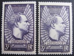 Lot FD/343 - 1937 - MERMOZ - N°338 + N°338b VIOLET-GRIS - TIMBRES NEUFS* - 225,00 € - Nuovi