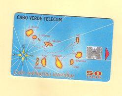 "PHONECARD CHIP CABO VERDE  CV8 ""MAPA CABO SUBMARINO 1996"" 50U -  USED AS ON PHOTO - Portugal"
