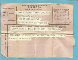 """Telegram """"VIA BELRADIO"""" Vanuit LEOPOLDVILLE (Congo-Belge)  Met Telegraafstempel DE PANNE Op 30/3/1958 - Stamped Stationery"""