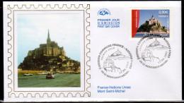 """FRANCE 2006 : Enveloppe 1er Jour En Soie """" FRANCE-ONU : LE MONT-SAINT-MICHEL """". N° YT 3924 . Parfait état. FDC - Emissions Communes"""