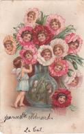 Les Enfants Sont Des Fleurs Dans Un Vase - Un Ange  - 1904 - Pli Vertical !!! - Anges