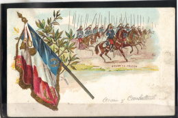 228 . MILITARIA . AVANT LA CHARGE  . (recto/verso)  DRAPEAU FRANCAIS . CHEVAUX . CAVALIERS - War 1914-18