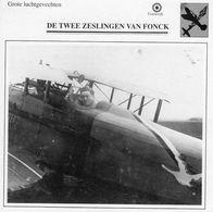 De Twee Zeslingen Van Fonck  -  Grote Luchtgevechten  -  Fiche Technique - 1914-1918: 1. Weltkrieg