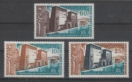 SERIE NEUVE DE MAURITANIE - SAUVEGARDE DES MONUMENTS DE NUBIE N° Y&T PA 37 A 39 - Egyptologie