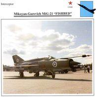 Mikoyan-Gurevich MiG-21 'Fishbed'  -  Avion  Interceptor  -  Fiche Technique - 1946-....: Moderne