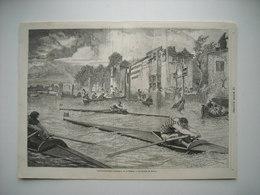 GRAVURE 1857. ANGLETERRE. COURSES DE PIROGUES, OUTRIGGER, SUR LA TAMISE. LES JOCKEYS DE RIVIERE. AVEC EXPLICATIF AU DOS. - Estampes & Gravures