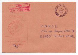 - FRANCE - Lettre MARINE NATIONALE - Patrouilleur LA MOQUEUSE - Classe P400 NOUMEA (Nouvelle-Calédonie) Pour TOULON 1991 - Postmark Collection (Covers)