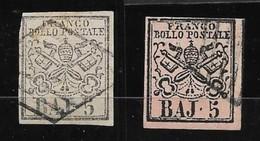 1852 STATO PONTIFICIO Stemma N.° 6 E 6a - 5 Baj - 2 Valori Usati - Cat. 52,50 € - Antichi Stati 105 - Stato Pontificio