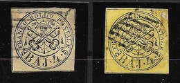 1852 STATO PONTIFICIO Stemma N.° 5 E 5a - 4 Baj - 2 Valori Usati - Cat. 240 € Al 5% - AS 104 - Stato Pontificio