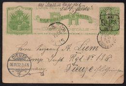 """HAITI - PORT AU PRINCE / 1902 SMS """"FALKE"""" ENTIER POSTAL POUR DIEUZE / RARE  (ref LE2030) - Haití"""