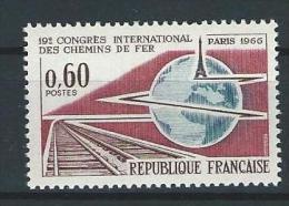 """FR YT 1488 """" Congrès Des Chemins De Fer """" 1966 Neuf** - Ungebraucht"""