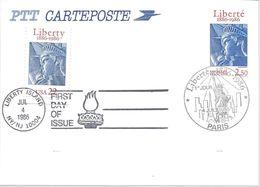Carte Statue De La Liberté Yvert N°2421-CP1 Premier Jour 4 Juil 86 + Timbre Américain Liberté Flamme 4 Juil 86 Non Voyag - Standard Postcards & Stamped On Demand (before 1995)