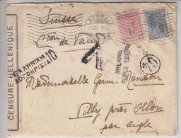 LETTRE POUR LA SUISSE - CENSUREE,DIVERS CACHET ET BANDE DE CENSURE  - 1918 - V/IMAGE - Lettres & Documents