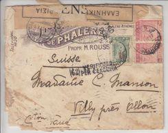 LETTRE POUR LA SUISSE - CENSUREE,DIVERS CACHET ET BANDE DE CENSURE  - 1917 - V/IMAGE - Lettres & Documents