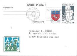 Carte JUVAROUEN 76 Yvert N° 1876-CP1 Oblitération Calais 1976 Repiquage Pour Le Congrès Régional Philatélique - Entiers Postaux