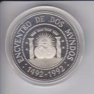 MONEDA DE PLATA DE ARGENTINA DE $25 DEL AÑO 1991 - ENCUENTRO ENTRE DOS MUNDOS 1492-1992 - Argentina