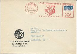 LETTRE 1951 AVEC EMPREINTE MACHINE A AFFRANCHIR ZIMMERMANN - MACHINES DE BUREAU - [7] Repubblica Federale