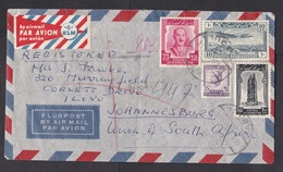 Afghanistan: Airmail Cover To South Africa, 1950s?, 4 Stamps, Rare KLM Air Label, UN Mission (minor Damage, See Scan) - Afghanistan