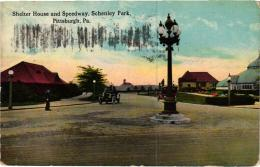 SHELTER HOUSE AND SPEEDWAY, SCHENLEY PARK PITTSBURGH,AUTOS,COULEUR  REF 54964 - Pittsburgh
