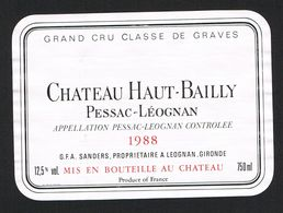 CHATEAU  HAUT - BAILLY  PESSAC-LEOGNAN  1988  GRAND CRU CLASSE DE GRAVES   ETIKET - Rode Wijn