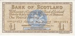 BILLETE DE ESCOCIA DE 1 POUND DEL AÑO 1962  (BANKNOTE) EDINBURGH  (RARO) - [ 3] Escocia