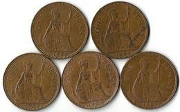 Lot 5 Pièces De Monnaie 1 Penny - 1902-1971 : Monnaies Post-Victoriennes