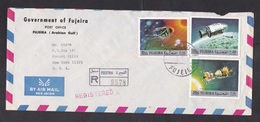 Fujeira: Registered Airmail Cover To USA, 1972, 3 Stamps, Space Missile, Astronautics, Rare Real Use! (roughly Opened) - Fudschaira