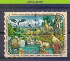 Nek008 FAUNA VOGELS KIKKER MOUNTAINS DEER WOODPECKER FROG BIRDS VÖGEL AVES OISEAUX UNITED NATIONS 1991 PF/MNH # - Other
